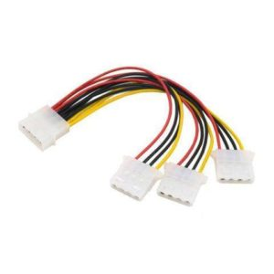 Power IDE 4 Pins 3 Female to 1 Male Splitter Cable