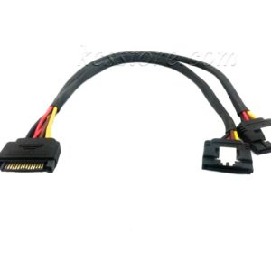 SATA 15-Pin Male to 2 x 15-Pin Female Y Splitter Cable