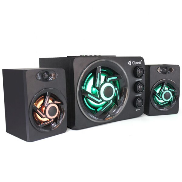 KISONLI TM-8000A Colorful LED Light Desktop Computer Speaker Subwoofer 2.1 Gaming Multimedia Speakers