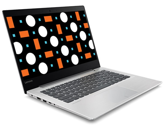 Lenovo Ideapad 320S (14) Front Left View with Abstract Image on Display Screen