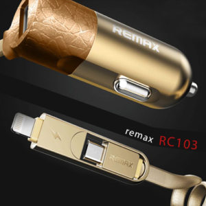 Car Charger REMAX RC-C103 1USB (3.4A) with Micro & iphone Cable