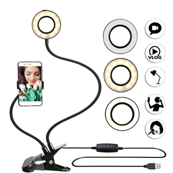 Professional Live Stream Phone Camera Flash Light, Selfie Ring Light with Cell Phone Holder