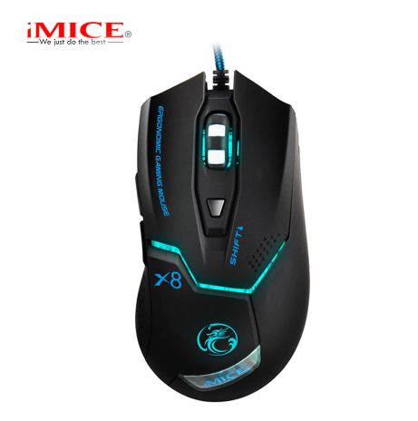 IMICE X8 LED COLORFUL LIGHT USB 6 BUTTONS 1600 DPI WIRED OPTICAL GAMING MOUSE