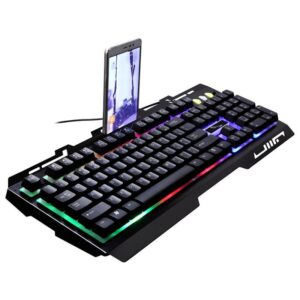 G700 Wired keybaord USB Wired Metal Rainbow Color Luminous Gaming Keyboard